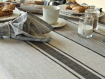 Provance Tablecloth Natural Black Striped
