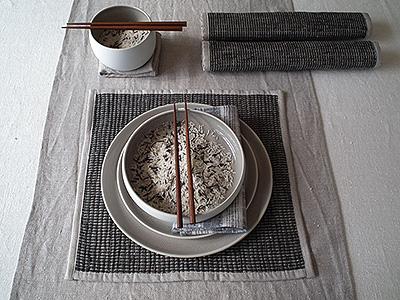 Lara Tablecloth Cream, Runner Natural and Placemat Bark Ema