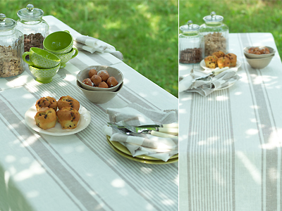 Tuscany Tablecloth, Philippe Napkins and Runner Grey