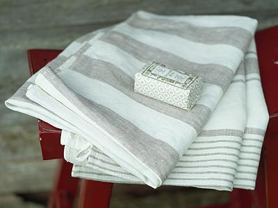 Tuscany Linen Bath Towels Grey Striped