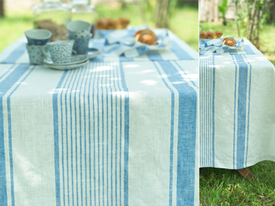 Tuscany Tablecloth, Philippe Napkins and Runner Blue