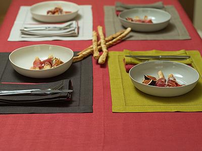 Emilia Blood Orange Tablecloth & Placemats