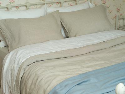 Washed Bed Linen Set Off White, Natural & Lara Fringe Throw Lake Blue
