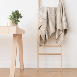 Natural Striped Huckaback Linen Bath Towel Linum