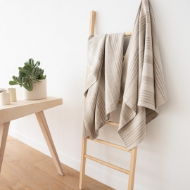Set of 4 Natural Striped Huckaback Linen  Bath Towels Linum