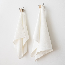Set of 2 White Linen Hand and Guest Towels Lucas