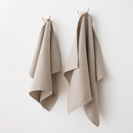 Set of 2 Natural Linen Hand and Guest Towels Lara