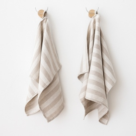 Set of 2 Natural Striped Linen Hand and Guest Towels Lucas