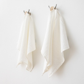 Set of 2 Hand and Guest Towels White Linen Cotton Wafer