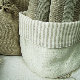 Beige White Linen Cotton Basket Lara