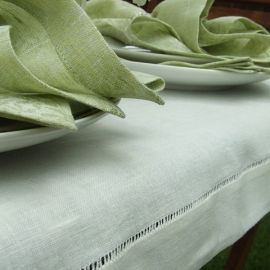 Hand Made Tablecloth Off White Linen Diana
