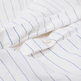 Duvet Cover White Blue Striped Linen Cotton