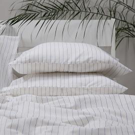 White Blue Striped Linen Cotton Pillow Case