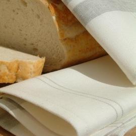 Set of 2 Tea Towels White Grey Tre Linen Cotton