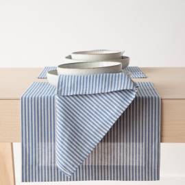 Blue Striped Linen Cotton Placemat Jazz