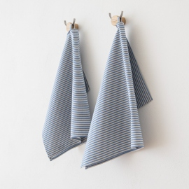 Set of 2 Tea Towels Blue Linen Cotton Jazz