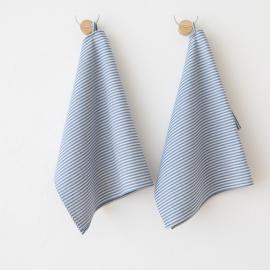 Set of 2 Tea Towels Blue Striped Linen Cotton Jazz
