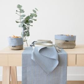 Blue Striped Linen Runner Jazz
