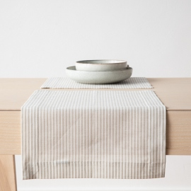Beige Striped Linen Cotton Placemat Jazz