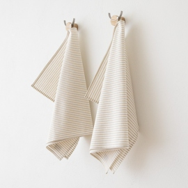 White Striped Linen Cotton Basket Beige Jazz
