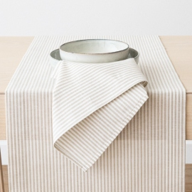 Beige Striped Linen Cotton Runner Jazz