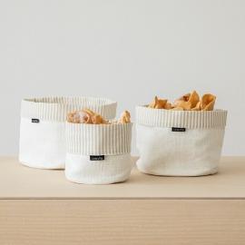 White Striped Linen Cotton Basket Beige Jazz