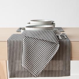 Black Striped Linen Cotton Napkin Jazz
