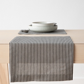 Black Striped Linen Cotton Placemat Jazz