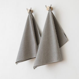 Set of 2 Tea Towels Black Linen Cotton Jazz