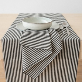 Black Striped Linen Runner Jazz