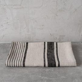 Huckaback Bath Towel Black Linen Provence