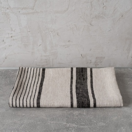 Huckaback Linen Bath Towel Chevron in Black