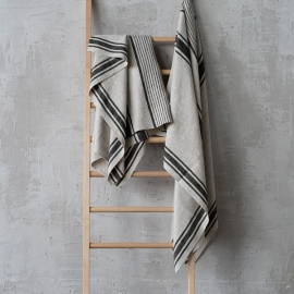 Bath Towel Black Linen Provance