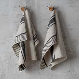 Set of 2 Black Striped Linen Hand and Guest Towels Provence
