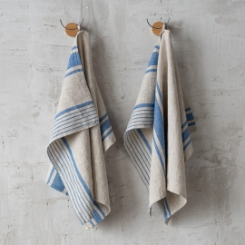 Set of 2 Natural Blue Striped Linen Hand and Guest Towels Provence