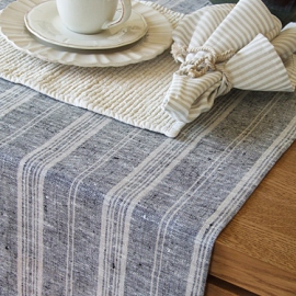 Black Multi Striped Linen Runner