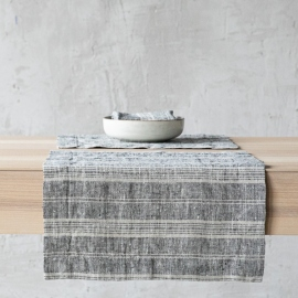 Black Multi Striped Linen Placemat
