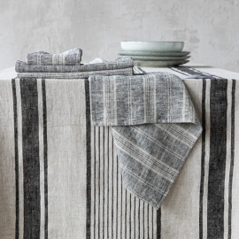 Black Multi Striped Linen Napkin