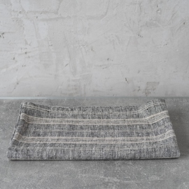 Bath Towel Black Multi Striped Linen