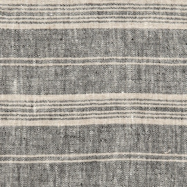 Black Multi Striped Linen Fabric Prewashed