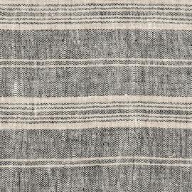 Black Multi Striped Linen Fabric Prewashed