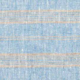 Fabric Blue Multi Striped Linen