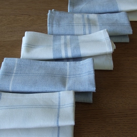 Set of 2 Blue Due Linen Cotton Kitchen Towels Florence