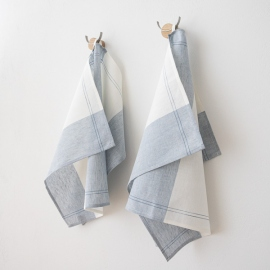 Set of 2 Blue Cinque Linen Cotton Kitchen Towels Florence