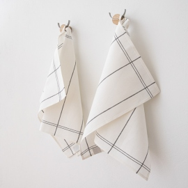 Set of 2 Graphite Uno Linen Cotton Kitchen Towels Florence