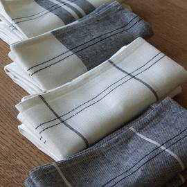 Set of 2 Graphite Due Linen Cotton Kitchen Towels Florence