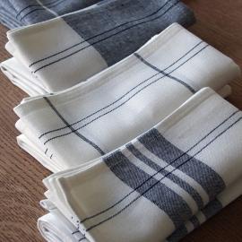Set of 4 Graphite Linen Cotton Kitchen Towels Florence