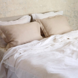 Duvet Optical White Linen Hemstitch