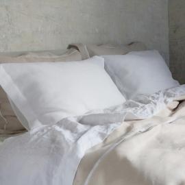 Pillow Optical White Linen Hemstitch
