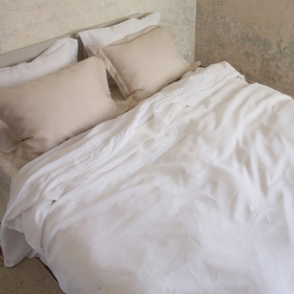 Bedlinen Set Optical White Linen Hemstitch